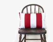Striped outdoor cushion cover - Bright and Colorful - Minimalist - Red and white stripes patio lumbar pillow case - 12x18 inches / 30x45 cm