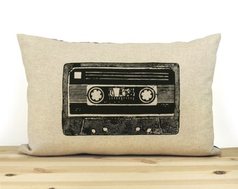 Retro Cassette Tape Print | 12x18 or 16x16 pillow size | Modern Decorative Throw Pillow Case | Natural & Black with Geometric Pattern Back