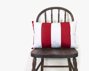 SALE || Striped outdoor cushion cover - Minimalist - Red and white stripes patio lumbar pillow case - 12x18 inches / 30x45 cm