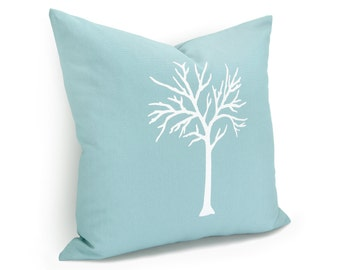 16x16 or 12x18 Decorative Tree Print Throw Pillow Cover for Couch in Aqua & White | Cushion Cover, Pillow Case | Modern Woodland Home Decor