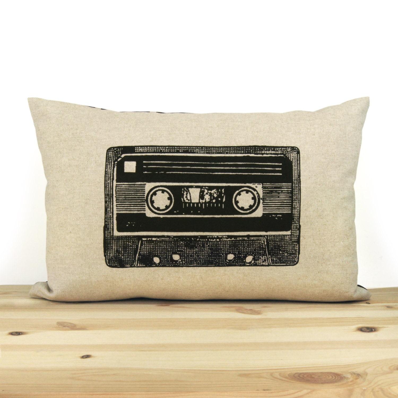 casette moderne retro cassette tape print 12x18 or 16x16 pillows modern
