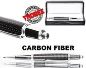 Carbon Fiber Pen (Ballpoint) - click style with chrome, comes with gift case