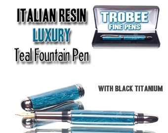 Teal handcrafted Fine Fountain Pen - One of a kind  hand made pen  Italian gem resin  handmade gift  writing instrument pen writes smooth