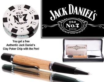 Handmade Jack Daniels Whiskey Barrel Wood Pen - Executive Ballpoint - handmade writing pen - drinkers gift - bourbon lovers gift -