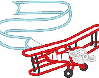 Airplane with banner and without, machine embroidery applique designs - download 4x4, 5x7 and 6x10