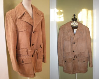 SALE Mens SUEDE Lambskin COAT Jacket Vintage 70s Belted Zip Out Faux Fur Lining Mod S 38
