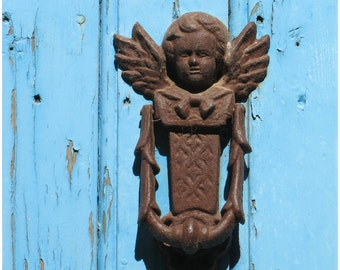 """An Angel at my Door, Blue """"Glazik"""" door Still life Color photography  France 8x10 ,French Country Home decor Monochromatic wall decor"""