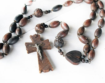 Large Antique wooden French Rosary, French religious wooden jewelry, Very Large (more than 4 feet), Antique French Pelgrim