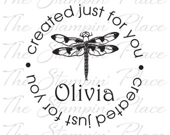 Personalized Custom Stamp - Dragonfly Circle created just for you - PK105