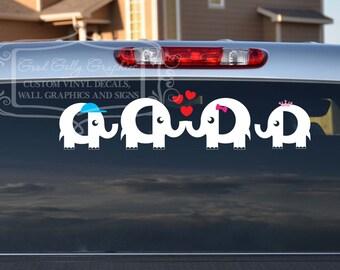 Elephant family car decal