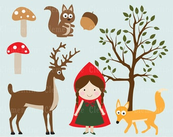 Little Red Riding Hood clip art images, Royalty free clip art, Little Red Riding Hood clipart- Instant Download