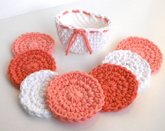 Crochet Scrubbies with Crochet Basket - Set of 7  - Peach, White - 100% Cotton