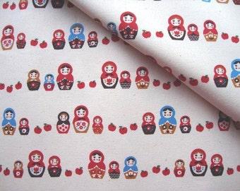 Japanese Fabric Cotton Kokka - Matryoshka Family - a yard