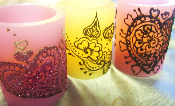 LED Love Lights Henna and Glitter Painted Votive Candle Set Valentines Day SALE