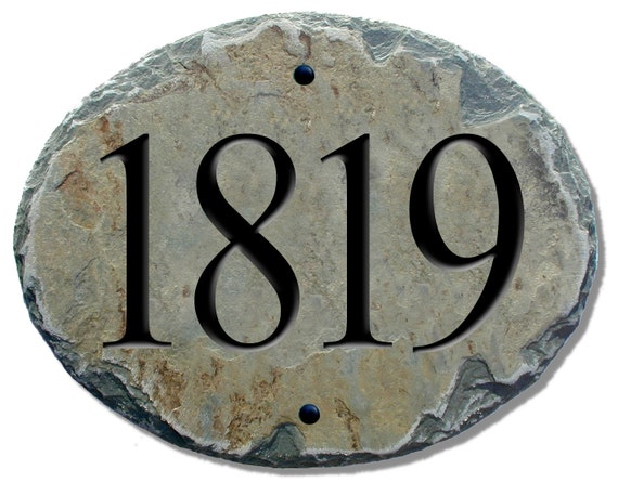 House Number Plaques Slate: HOME ADDRESS Numbers Slate Oval Plaque / House / By