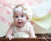 All Cream Couture Baby Headband, Baby Flower Headband, Children, Photo Prop, Special Occasion / Stunning Cream Baby Headband - lepetitejardin