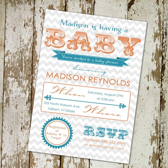 baby shower invitations gender neutral, B is for Baby and banner design (any colors), digital, printable file (item 1417) baby shower invit