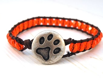 Orange Leather Wrap Bracelet  on Brown Leather and Tiger Paw Button/ Big Orange/ Sports Chic/ Free Shipping