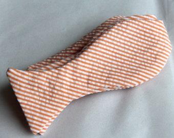 Bow Tie in Orange Seersucker- for men or boys - Wedding Accessories, self tying, pre-tied adjustable strap or clip on