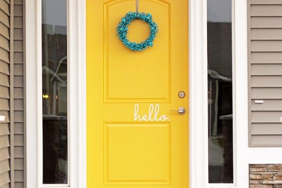 Hello Vinyl Door Decal - Hello Front Door Decals Hello Home Office Decor Custom Vinyl Decals Hello Vinyl Hello Decal Vinyl Company 11x5 & Hello Vinyl Door Decal Hello Front Door Decals Hello Home pezcame.com