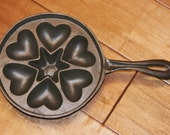RESERVED for Rose...   Cast Iron Mold Heart and Star hearts Muffin Cupcake Cake Molds Excellent Condition