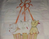 Vintage Childs Crib Spread  Sheet  or Wallhanging    Puppies in a Basket     36 x 47  Dogs