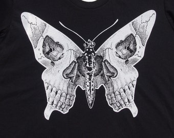 Womens butterfly skull shirt- American Apparel black- available in S, M, L , XL WorldWide Shipping