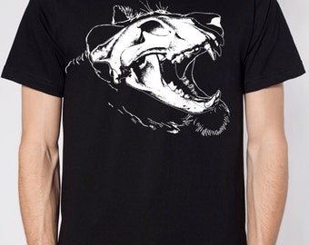 Mens lion skull shirt- american apparel black- available in S, M, L, XL, XXL- WorldWide Shipping