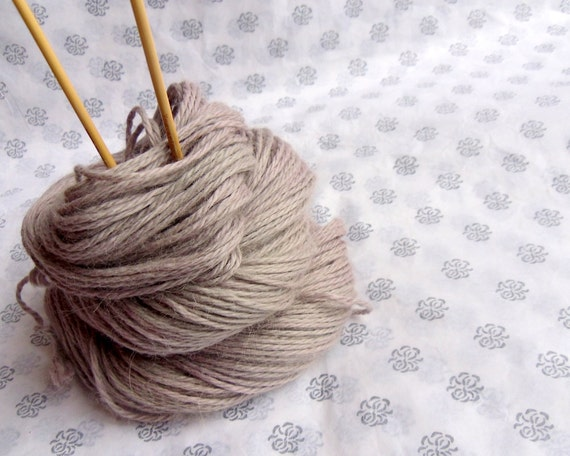 Alpaca Silk Aran Yarn, Hand Dyed, Beige Pink, 100g, SALE