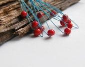 Red berry earrings, vivid beaded earrings in red & blue, modern handmade earrings, fall fashion