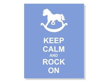 Keep Calm Rock On Children Art Print 8x10  Nursery Decor Blue