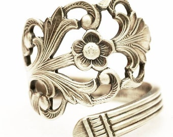 Floral Victorian Ring, Norwegian Jewelry, Nordic Ring, 830 Sterling Silver Spoon Ring, Handmade Norway, Adjustable Ring Size 5 6 7 8 (5977)