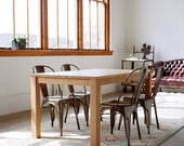 Solid White Oak Parsons Dining Table - Customizable with Leaves