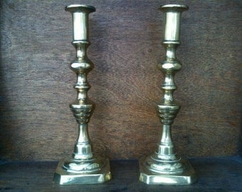 Vintage English Tall Brass Candlestick Candle Holder Pair circa 1950's / English Shop