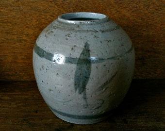 Antique Chinese Asian Grey Ceramic Vase Storage Pot Jar circa 1910's / English Shop