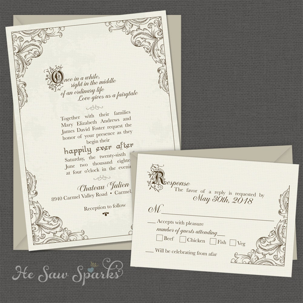 Disney Wedding Invitation: FairyTale Printable Wedding Invitation Happy Endings