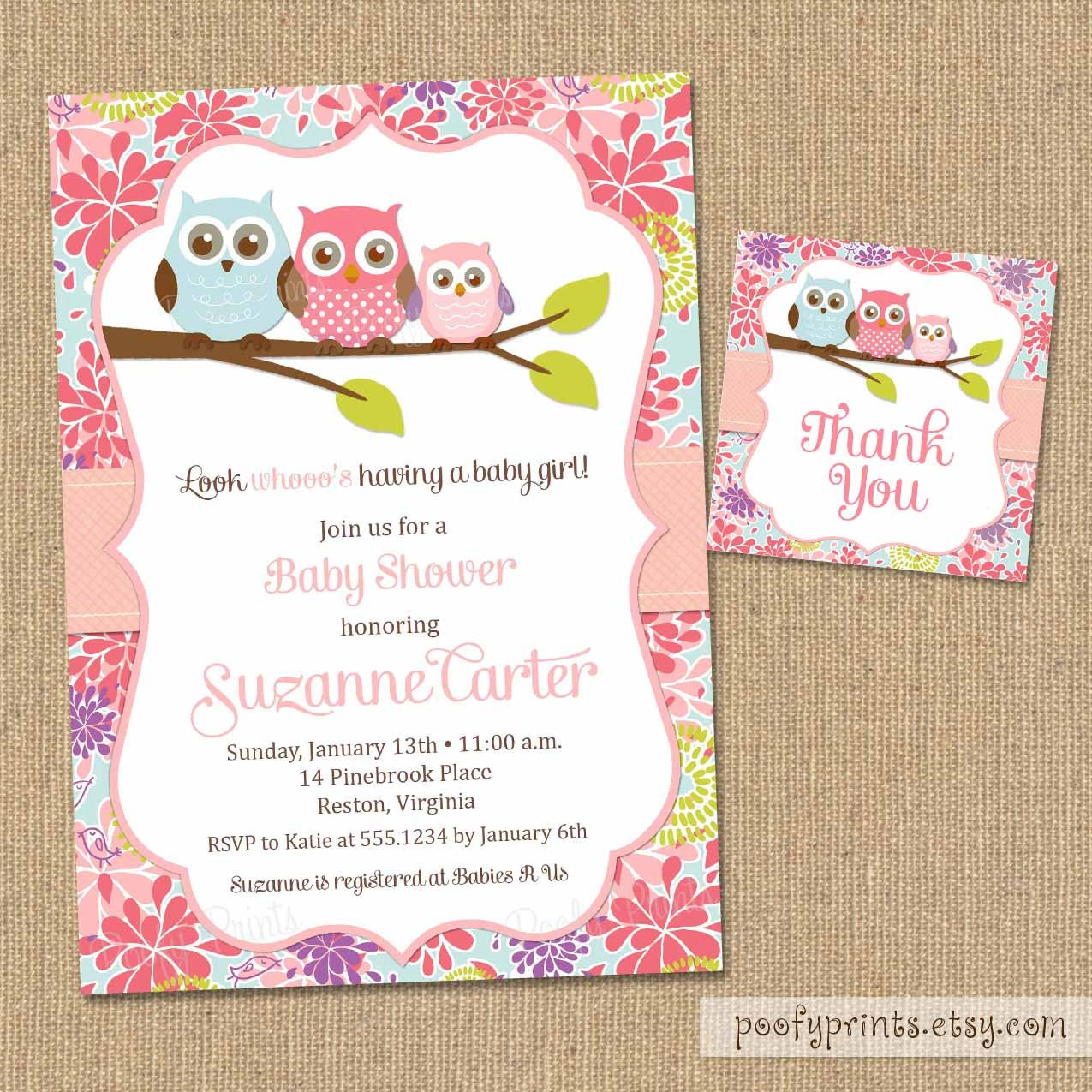 Owl Baby Shower Invitations DIY Printable Baby By PoofyPrints