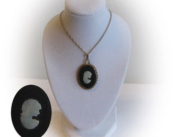 Gold Mother of Pearl on Onyx Cameo Pendant and 14 K Chain