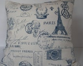 """Two (2) Decorative French Script Pillow Covers - Cream with  Navy Writing  Made to Fit 18"""" x 18"""" Pillows"""