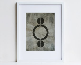 abstract art, art for men, symbol print, cosmic art, enigma, giclee