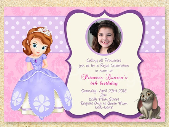 Sofia The First Birthday Invitation Princess Sofia Party