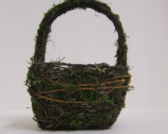 Moss and Twig Flower Girl Basket or planter - Large and Square
