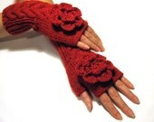 RED ...Fingerless Gloves, Wool Mittens, Women Arm Warmers with cable pattern and flowers, eco friendly