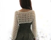 Cotton Summer Cropped  Sweater Shrug in Ivory color, hand knitted, ecofriendly