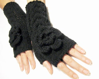 BLACK ...Fingerless Gloves, Wool Mittens, Arm Warmers with cable pattern and crochet flowers, eco friendly
