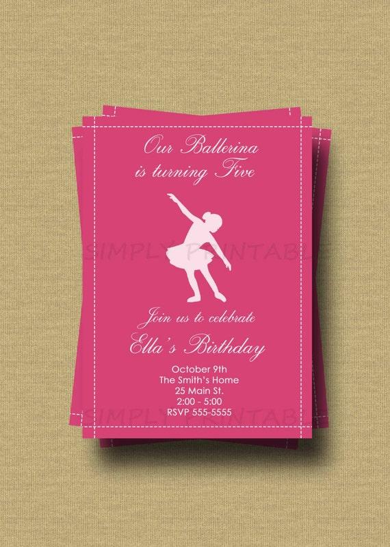 Ballerina Birthday Invitation with Silhouette