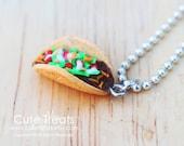Miniature food jewelry - Taco necklace - Super realistic :)