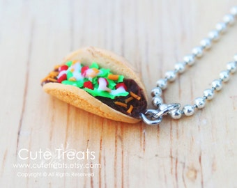 Miniature food jewelry - Taco necklace - Super realistic :)