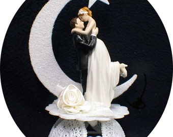 Magic Romantic Moment Moonlight Wedding Cake Topper Top ornament First KISS