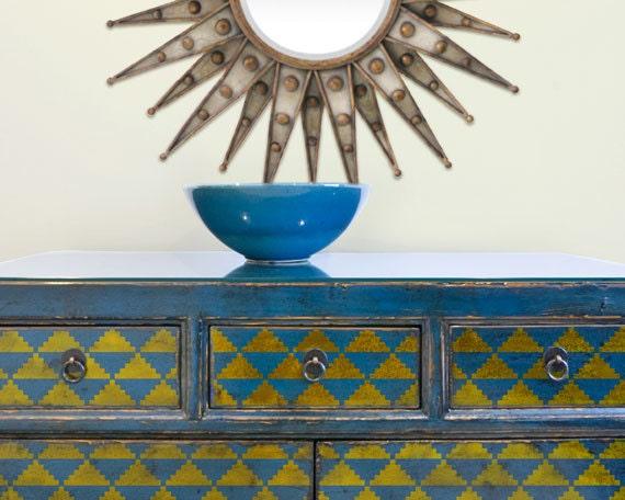 Triangolini art deco mobili geometrici stencil per pittura - Stencil adesivi per mobili ...